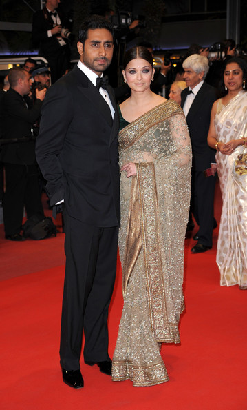 "Actress Aishwarya Rai Bachchan and Abhishek Bachchan attends ""Outrage"" Premiere at the Palais des Festivals during the 63rd Annual Cannes Film Festival on May 17, 2010 in Cannes, France."