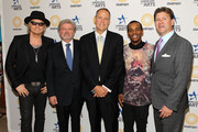 (L-R) Musician Matt Sorum, AFTA President and CEO Robert Lynch, Ovation CEO Charles Segars, performer Lil Buck and Lyndon Boozer pose for a photo backstage at The Nancy Hanks Lecture on Art and Public Policy sponsored by Ovation at John F. Kennedy Center for the Performing Arts on April 8, 2013 in Washington, DC.