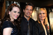 "(L-R) Actors Danielle Panabaker, Timothy Olyphant and Radha Mitchell arrive at Overture's ""The Crazies"" VIP screening at the Vista Theatre on February 23, 2010 in Los Angeles, California."