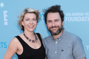 Actors Mary Elizabeth Ellis and Charlie Day attend P.S. Arts Express Yourself 2018 at Barker Hangar on October 7, 2018 in Santa Monica, California.