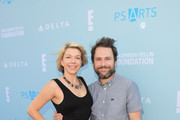 Mary Elizabeth Ellis (L) and Charlie Day attend P.S. ARTS Express Yourself 2018 at Barker Hangar on October 7, 2018 in Santa Monica, California.