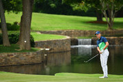 Jordan Spieth of the United States putts on the seventh green  during the second round of the 2017 PGA Championship at Quail Hollow Club on August 11, 2017 in Charlotte, North Carolina.