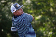 Jason Dufner of the United States plays his shot from the eighth tee during the second round of the 2018 PGA Championship at Bellerive Country Club on August 10, 2018 in St Louis, Missouri.