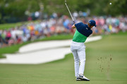 Jordan Spieth of the United States plays his shot on the first hole  during the second round of the 2017 PGA Championship at Quail Hollow Club on August 11, 2017 in Charlotte, North Carolina.