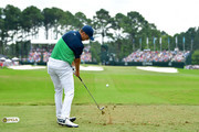 Jordan Spieth of the United States plays his shot from the fourth tee  during the second round of the 2017 PGA Championship at Quail Hollow Club on August 11, 2017 in Charlotte, North Carolina.
