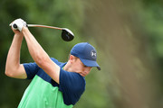 Jordan Spieth of the United States plays his shot from the second tee  during the second round of the 2017 PGA Championship at Quail Hollow Club on August 11, 2017 in Charlotte, North Carolina.