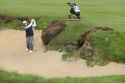 David Higgins of Waterville Golf Club plays a shot out the fairway bunker during Day 2 of the PGA Play-Offs at Walton Heath Golf Club on October 31, 2017 in Tadworth, England.