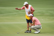 Danny Lee of New Zealand lines up a putt on the 11th green during the final round of THE PLAYERS Championship on the Stadium Course at TPC Sawgrass on May 13, 2018 in Ponte Vedra Beach, Florida.
