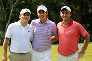 (L-R) Francesco Molinari of Italy, Matteo Manassero of Italy and Edoardo Molinari of Italy smile together during a practice round prior to the start of THE PLAYERS Championship held at THE PLAYERS Stadium course at TPC Sawgrass on May 10, 2011 in Ponte Vedra Beach, Florida.