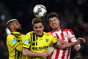 Marco van Ginkel of PSV battles for the ball with Nils Roseler and Leroy Labylle of VVV Venlo during the Dutch Eredivisie match between PSV Eindhoven and VVV Venlo held at Philips Stadion on March 17, 2018 in Eindhoven, Netherlands.