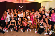 PUMA Global Ambassador Adriana Lima, Deja Riley and workout class participants pose as PUMA And Refinery29 Host The Launch Of The New PUMA LQD CELL Shatter Shoe at Refinery29 on July 11, 2019 in New York City.