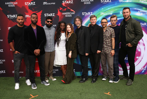 'American Gods' And 'Now Apocalypse' Live Viewing Party At #TwitterHouse [twitterhouse,american gods now apocalypse live viewing party,l-r,event,premiere,carpet,red carpet,team,performance,ricky whittle,emily browning,neil gaiman,crispin glover,yetide badaki,mousa kraish,demore barnes]