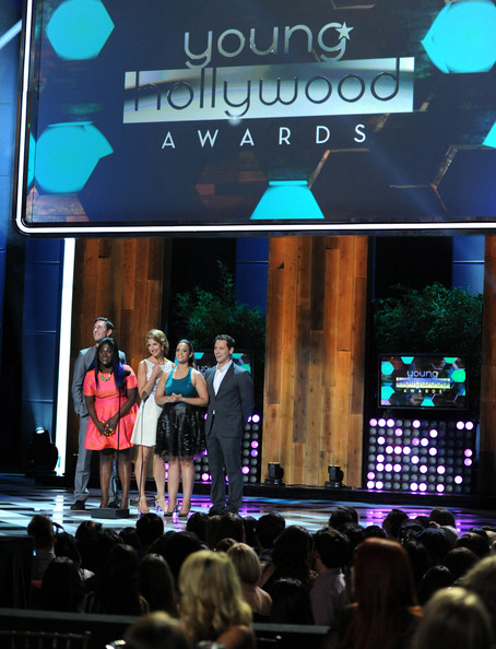 Young Hollywood Awards Show [stage,event,display device,performance,stage equipment,technology,electronic device,talent show,projection screen,music venue,actors,pablo schreiber,matt mcgorry,alysia reiner,danielle brooks,dascha polanco,young hollywood awards,l-r,samsung galaxy,samsung galaxy - show]