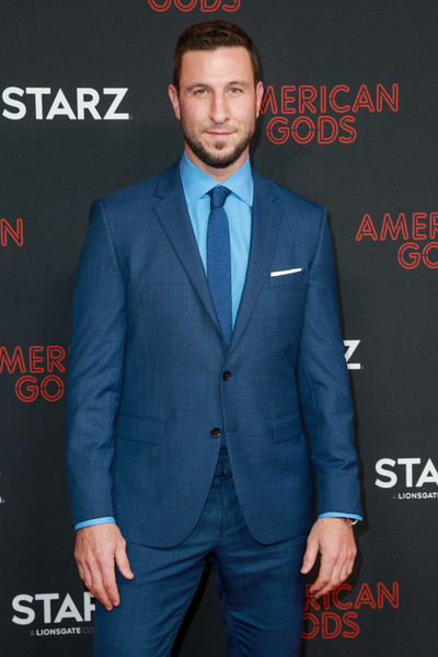 Premiere Of STARZ's 'American Gods' Season 2 - Arrivals [american gods,season,suit,clothing,formal wear,electric blue,tuxedo,white-collar worker,premiere,blazer,outerwear,pantsuit,arrivals,pablo schreiber,california,los angeles,starz,premiere,premiere,season]