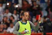 Landon Donovan of Leon gestures prior to the 9th round match between Pachuca and Leon as part of the Torneo Clausura 2018 Liga MX at Hidalgo Stadium on February 24, 2018 in Pachuca, Mexico.