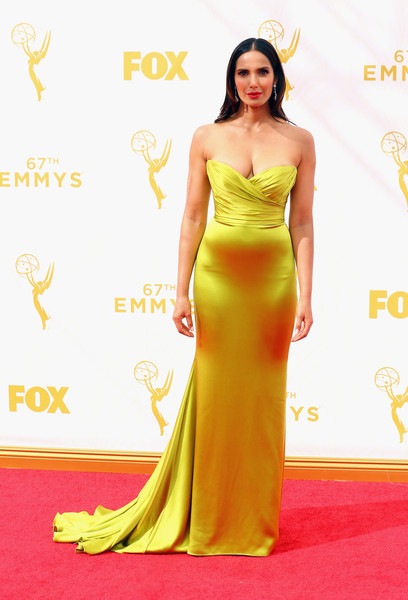 67th Annual Primetime Emmy Awards - Arrivals [dress,fashion model,clothing,gown,yellow,carpet,red carpet,shoulder,strapless dress,flooring,arrivals,padma lakshmi,tv personality,microsoft theater,los angeles,california,primetime emmy awards]