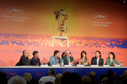 "(2ndL-R) Leonardo Sbaraglia, Antonio Banderas, Pedro Almodovar, Penelope Cruz, Asier Etxeandia and Nora Navas during the ""Pain And Glory (Dolor Y Gloria/ Douleur Et Glorie)"" Press Conference during the 72nd annual Cannes Film Festival on May 18, 2019 in Cannes, France."