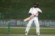 Sarfraz Ahmed of Pakistan bats during day three of the Second Test match between Australia and Pakistan at Sheikh Zayed stadium on October 18, 2018 in Abu Dhabi, United Arab Emirates.