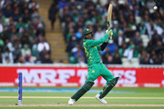 Shoaib Malik of Pakistan cuts to the offside boundary during the ICC Champions Trophy match between Pakistan and South Africa at Edgbaston on June 7, 2017 in Birmingham, England.