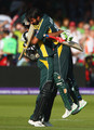 Shahid Afridi (R) of Pakistan celebrates victory with Shoaib Malik during the ICC World Twenty20 Final between Pakistan and Sri Lanka at Lord's on June 21, 2009 in London, England.