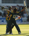 Shahid Afridi of Pakistan celebrates his team's victory with team mate Shoaib Malik at the end of the ICC World Twenty20 Final between Pakistan and Sri Lanka at Lord's on June 21, 2009 in London, England.