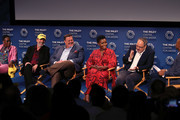 """(L-R) Gina Yashere, Chuck Lorre, Billy Gardell, Folake Olowofoyeku and Alan J. Higgins of """"Bob Hearts Abishola"""" and Kevin Frazier speak on stage at The Paley Center for Media's 2019 PaleyFest Fall TV Previews - CBS at The Paley Center for Media on September 12, 2019 in Beverly Hills, California."""