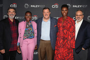 """(L-R) Chuck Lorre, Gina Yashere, Billy Gardell, Folake Olowofoyeku and Alan J. Higgins of """"Bob Hearts Abishola"""" attend The Paley Center for Media's 2019 PaleyFest Fall TV Previews - CBS at The Paley Center for Media on September 12, 2019 in Beverly Hills, California."""