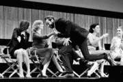 """Image converted to Black and White from Color original)(L-R) Actors Elisabeth Moss, Christina Hendricks, Vincent Kartheiser, Jessica Pare, Kiernan Shipka on stage at The Paley Center For Media's PaleyFest 2014 Honoring """"Mad Men"""" at Dolby Theatre on March 21, 2014 in Hollywood, California."""