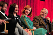 """(L-R) Actors Vincent Kartheiser, Elisabeth Moss, Christina Hendricks, Robert Morse,  on stage at The Paley Center For Media's PaleyFest 2014 Honoring """"Mad Men"""" at Dolby Theatre on March 21, 2014 in Hollywood, California."""