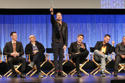 (L-R) Creator/Executive Producer Rob Thomas, and actress Kristen Bell, actors Jason Dohring, Enrico Colantoni, Ryan Hansen, Chris Lowell, Francis Capra, Percy Daggs lll, and actress Tina Majorino speak during The Paley Center for Media's PaleyFest 2014 Honoring 'Veronica Mars' at the Dolby Theatre on March 13, 2014 in Hollywood, California.