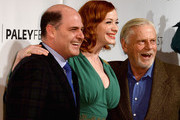 """Show creator Matthew Weiner, Christina Hendricks and Robert Morse arrive at The Paley Center For Media's PaleyFest 2014 Honoring """"Mad Men"""" at Dolby Theatre on March 21, 2014 in Hollywood, California."""