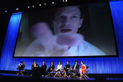 "Actor Neil Patrick Harris  on screen with  (L-R) actor Wayne Brady, Creator/executive producers Carter Bays and Craig Thomas, executive producer Pamela Fryman, Actors Alyson Hannigan,  Cobie Smulders, Josh Radnor and Christin Milloti on stage at The Paley Center For Media's PaleyFest 2014 Honoring ""How I Met Your Mother"" Series Farewell at Dolby Theatre on March 15, 2014 in Hollywood, California."