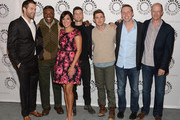 Actors Geoff Stults, Keith David, Angelique Cabral, Parker Young, Chris Lowell, and Executive Producer's Kevin Biegel and Mike Royce attend The Paley Center For Media Presents FOX's 'Enlisted' Premiere And Screening at The Paley Center for Media on January 7, 2014 in Beverly Hills, California.