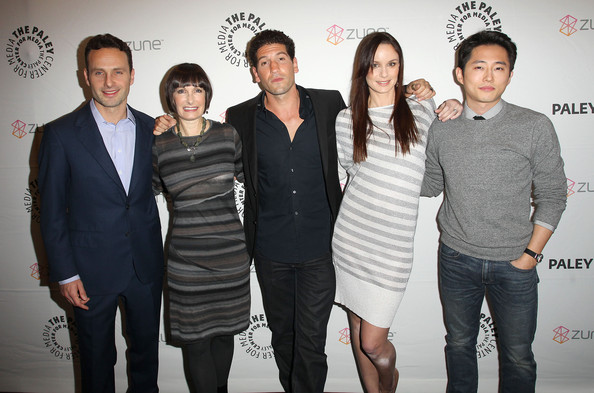 "(L-R)Actor Andrew Lincoln, Executive Producer Gale Ann Hurd, actor Jon Bernthal, actress Sarah Wayne Callies and actor Steven Yeun attend ""The Walking Dead"" screening during PaleyFest 2011 at the Saban Theater on March 4, 2011 in Beverly Hills, California."