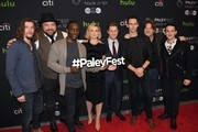(L-R) The cast of 'Gotham' Benedict Samuel, Drew Powell, Chris Chalk, Erin Richards, Ben McKenzie, Robin Lord Taylor, Donal Logue and Robin Lord Taylor attends the PaleyFest New York 2016  'Gotham' at The Paley Center for Media on October 19, 2016 in New York City. / AFP / ANGELA WEISS