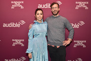 """Actors Cristin Milioti (L) and Andy Samberg attend the """"Palm Springs"""" premiere party at Audible Speakeasy during the 2020 Sundance Film Festival on January 26, 2020 in Park City, Utah."""