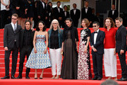 (L-R) Nicolas Winding Refn, Gael Garcia Bernal, Do-yeon Jeon, Jane Campion, Leila Hatami, Sofia Coppola, Zhangke Jia, Carole Bouquet and Willem Dafoe attend the red carpet for the Palme D'Or winners at the 67th Annual Cannes Film Festival on May 25, 2014 in Cannes, France.