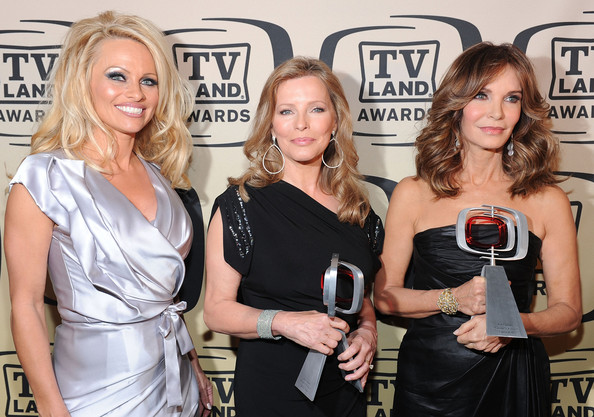 8th Annual TV Land Awards - Backstage And Audience [blond,fashion,event,dress,liqueur,little black dress,premiere,distilled beverage,tv land awards,award,l-r,pop culture,charlies angels,audience,actors,recipients,cheryl ladd,pamela anderson]