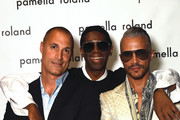 (L-R) Nigel Barker, Miss J, and  Jay Manuel backstage for Pamella Rolland during New York Fashion Week: The Shows on September 10, 2019 in New York City.