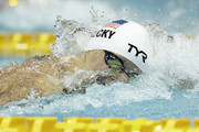 Katie Ledecky of the USA competes in the Women's 200m Freestyle heat on day one of the Pan Pacific Swimming Championships at Tokyo Tatsumi International Swimming Center on August 9, 2018 in Tokyo, Japan.