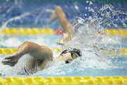 Katie Ledecky of the United States competes in the Women's 4x200m Freestyle Relay on day two of the Pan Pacific Swimming Championships at Tokyo Tatsumi International Swimming Center on August 10, 2018 in Tokyo, Japan.
