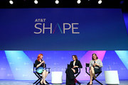 (L-R) Dr. Erin Macdonald, Geena Davis and Mayim Bialik speak onstage during 'The Scully Effect - I Want to Believe in STEM' panel at AT&T SHAPE at Warner Bros. Studios on June 22, 2019 in Burbank, California.