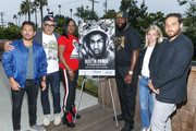 "Michael Gasparro, Chachi Senior, Sybrina Fulton, Tracy Martin, Julia Willoughby Nason and Jenner Furst pose for a photo at ""Rest In Power: The Trayvon Martin Story"" Screening on July 26, 2018 in Venice, California."