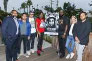 "Jamil Smith, Michael Gasparro, Chachi Senior, Sybrina Fulton, Tracy Martin, Julia Willoughby Nason and Jenner Furst pose for a photo at ""Rest In Power: The Trayvon Martin Story"" Screening on July 26, 2018 in Venice, California."