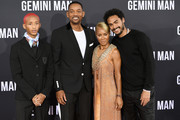 """(L-R) Jaden Smith, Will Smith, Jada Pinkett Smith, and Trey Smith attend Paramount Pictures' Premiere Of """"Gemini Man"""" on October 06, 2019 in Hollywood, California."""