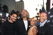 """(L-R) Trey Smith, Will Smith, Jada Pinkett Smith, and Jaden Smith attend Paramount Pictures' premiere of """"Gemini Man"""" on October 06, 2019 in Hollywood, California."""