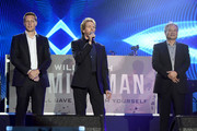 "(L-R) Producer David Ellison, producer Jerry Bruckheimer and director Ang Lee on stage during the Paramount Pictures, Skydance and Jerry Bruckheimer Films ""Gemini Man"" Budapest concert at St Stephens Basilica Square on September 25, 2019 in Budapest, Hungary."