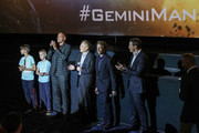 "Young fans on stage with (L-R) Will Smith, Ang Lee, Jerry Bruckheimer and David Ellison during the Paramount Pictures, Skydance and Jerry Bruckheimer Films ""Gemini Man"" Budapest fan screening, at Cinema City Arena on September 25, 2019 in Budapest, Hungary."