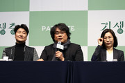 (L to R) Director Bong Joon-ho, actor Song Kang-ho and producer Kwak Sin-ae attend the press conference on February 19, 2020 in Seoul, South Korea. 'Parasite' won the best picture category at the 92nd Academy Awards for the first time as a non-English language film.
