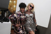 Paris Hilton (L) and Tiff McFierce pose during the Paris Hilton X Beautycon Festival NYC Pre-Party on April 20, 2018 in New York City.